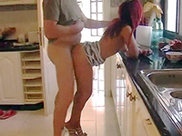 Redhead Housewife Fucks Her Boss In The Kitchen