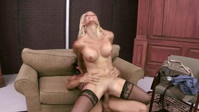Blonde Girl Goes Great With Black Stockings
