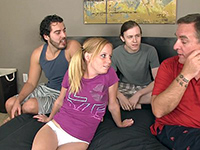 Young Cutie With Pigtails Gets Talked Into Gangbang