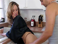 Naughty Mom Gets Nailed By Her Daughter's Bf In The Kitchen