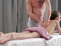 Horny Teen Babe Lets Her Masseur To Fuck Her Oiled Pussy