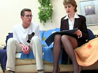 Teacher's Sexy Legs In Stockings Drives Young Boy Crazy