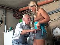 Grandpa Fucks The Girl From Next Door In His Garage