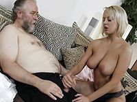Blonde Teen Helps A Masturbating Old Man To Finish