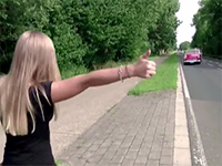 Sexy Blonde Hitchhiker Gets Picked Up And Fucked On The Car