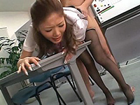 Asian Lady In Pantyhose Gets Fucked Hard In The Office