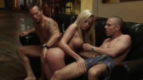 Two Strong Guys Are Having Fun With One Blonde
