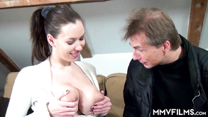 Big Breasted Teen And Horny Old Geezer