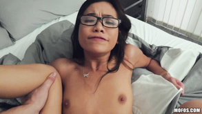Brunette In Glasses Takes Sperm All Over Her Pretty Face