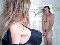 Slutty Cougar Surprises And Fucks Her Daughter's Bf In Shower