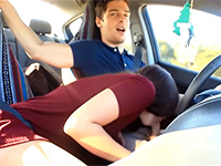 Naughty Girlfriend Sucks While Her Boyfriend Drive A Car