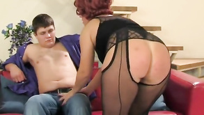 Lad Fucks A Chubby Ginger Lady Right Through Her Pantyhose