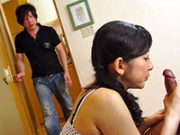 Japanese Mom Gets Talked Into Threesome After Getting Caught Blowing