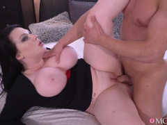 Chubby Woman Harmony Reigns And Young Beau Make Love In Bed