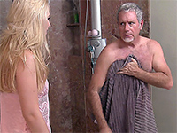 Naughty Blonde Walks In The Bathroom And Sees Her Mom's Lover Showering