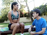 Old Gym Teacher Lures A Sexy Cheerleader Girl Into His Room