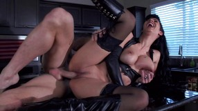 Hot Lady Is Riding The Mans Cock In The Kitchen
