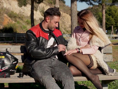 Driver Fucks Blonde Katrin Tequila In Pink Hole Outdoors
