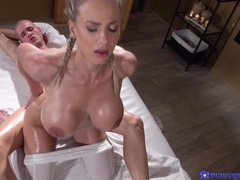 Blonde Masseuse Nathaly Cherie Lures Client Into Lovemaking