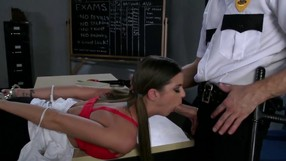 Horny Officer Takes Care Of A Brunettes Hole