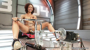 Skinny Tattooed Ebony Fucks Machine
